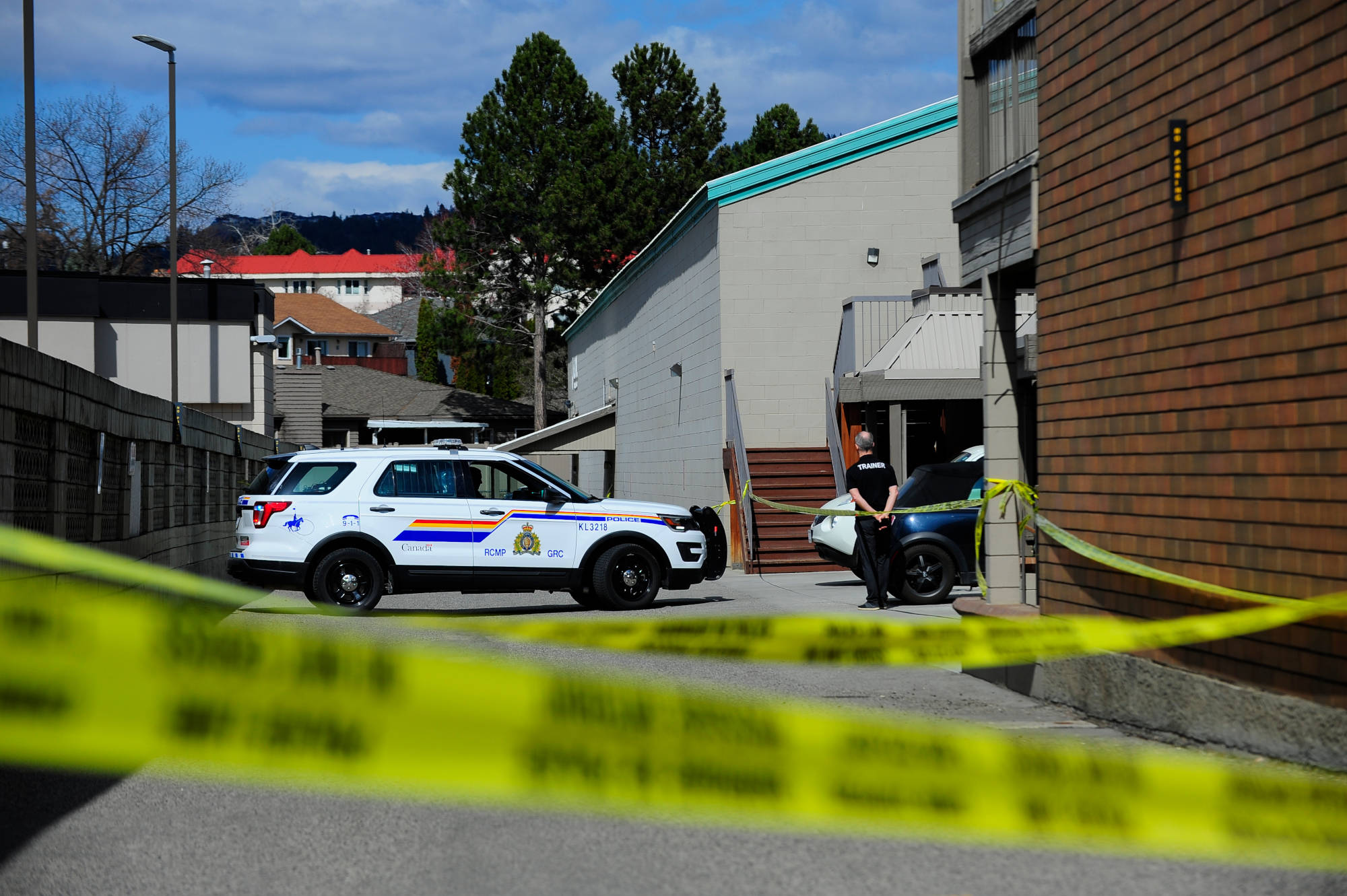 RCMP cruisers on scene at Global Fitness in Kelowna after a shooting on the morning of March 29, 2021. (Michael Rodriguez/Capital News)