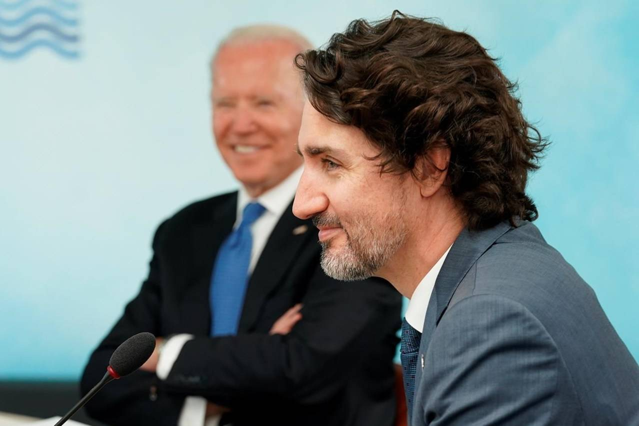 President Joe Biden and Canadian Prime Minister Justin Trudeau attend the G-7 summit at the Carbis Bay Hotel in Carbis Bay, St. Ives, Cornwall, England, Friday, June 11, 2021. THE CANADIAN PRESS/AP, Kevin Lamarque, POOL