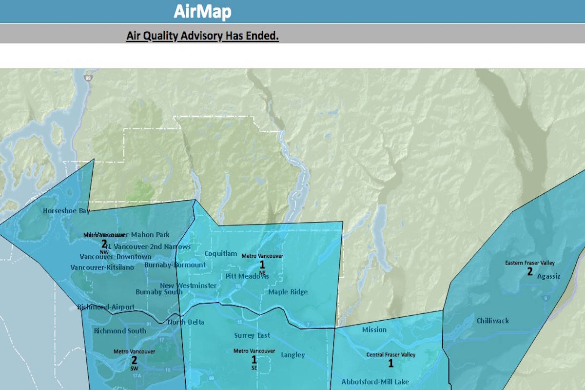 Air quality advisory for Fraser Valley and Metro Vancouver ended after three days of smoky skies with high levels of fine particulate matter. (Metro Vancouver)
