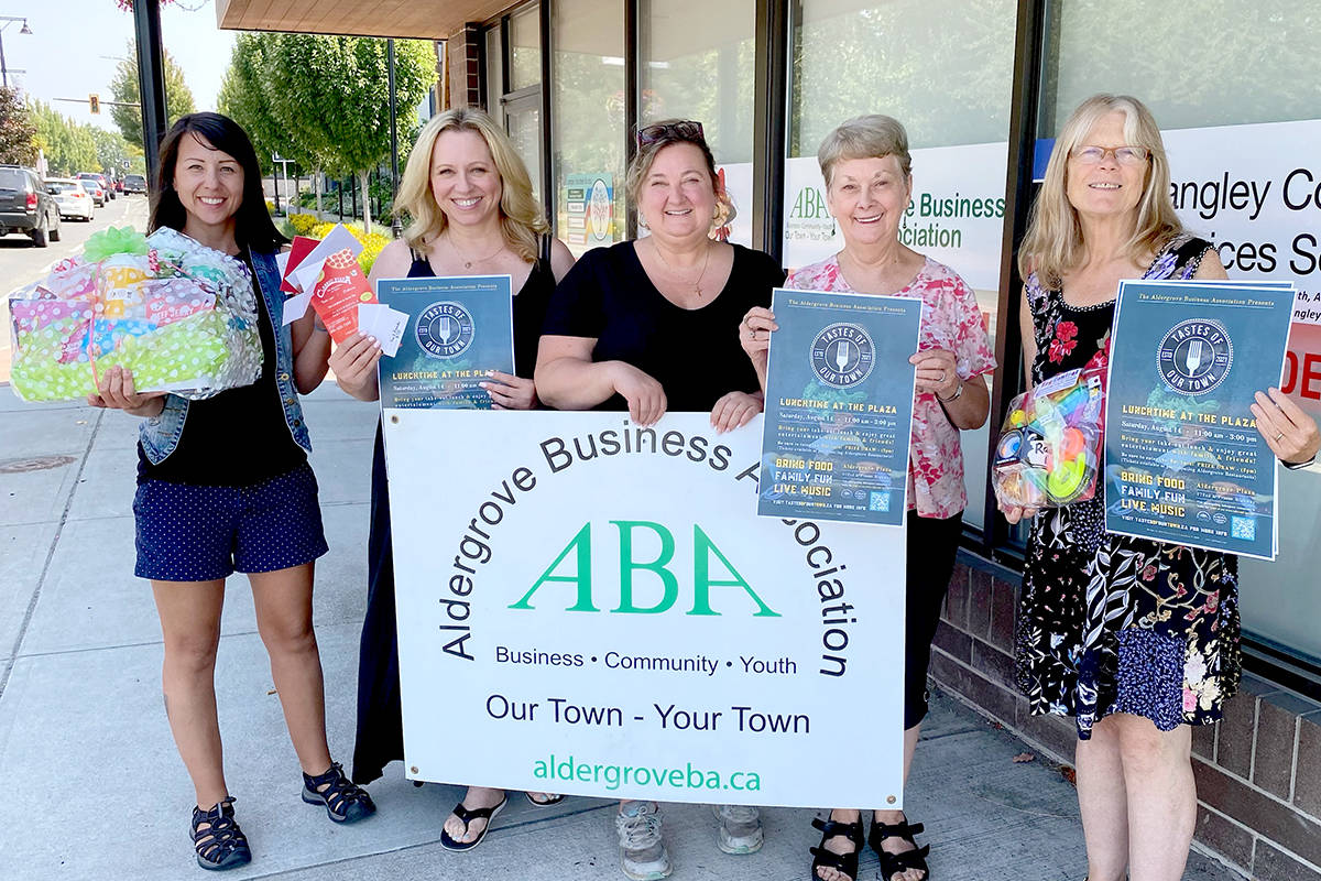 From left to right; Cashmere Roder, Alyssa Nielsen, Veronica Cave, Marie Gold, and Karen Long are organizing Taste of Our Town – an event celebrating all things Aldergrove restaurants Aug. 14. (Special to The Star)