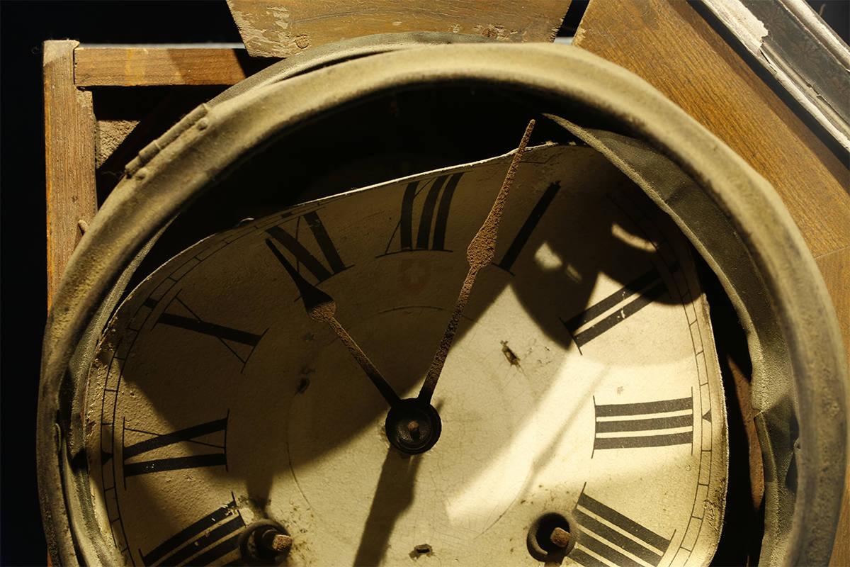 A clock, stopped at 11:02 a.m., the moment when the atomic bomb devastated Nagasaki, Japan, on Aug. 9, 1945. (Ken Mizokoshi photo)