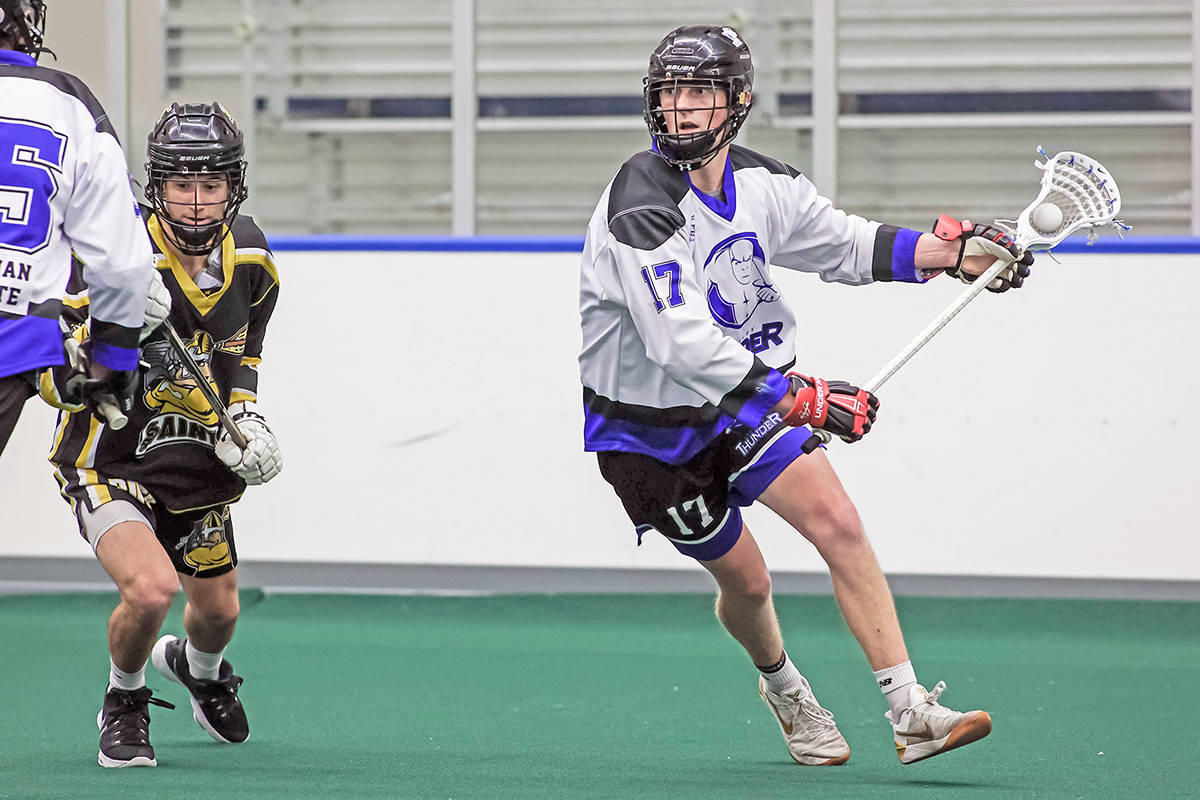 Tristan Kirkham and the Langley Thunder took game one of their BC Junior Tier 1 Lacrosse League playoff series by a 10-8 score over the visiting Maple Ridge Burrards Tuesday at Langley Events Centre. (Damon James/Langley Events Centre file photo)
