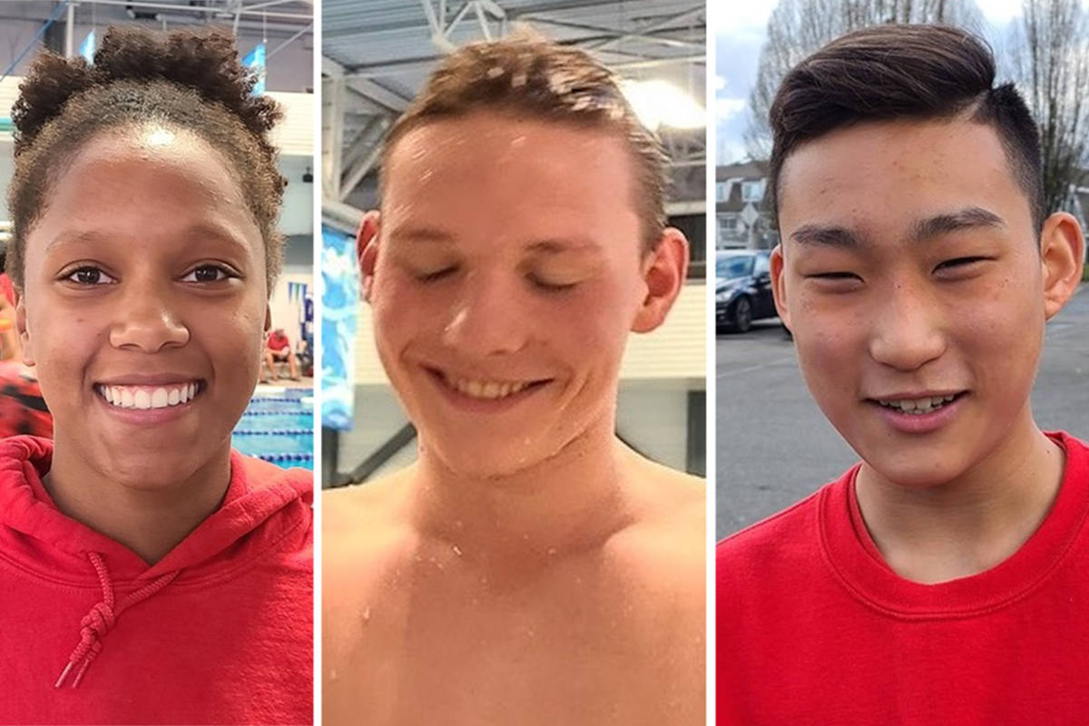 Langley Olympians national and provincial group swimmers (L to R) Leila Fack, Aidan Erickson, and Jihoon Bae set several records at the 2021 Hyack Year End swim meet in Coquitlam (Special to Langley Advance Times)