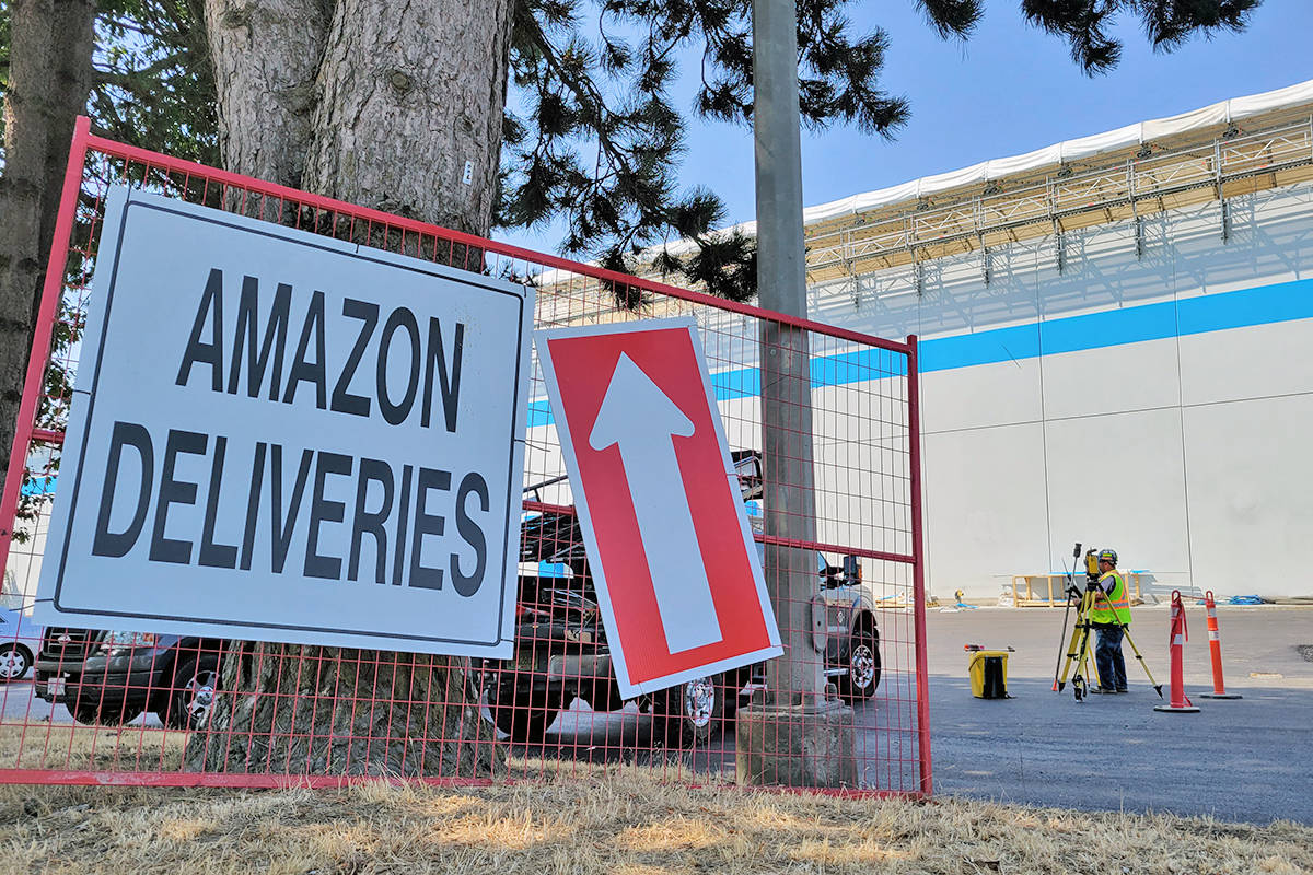 A new Amazon sorting facility in the 9300 block of 200 St. in Langley is expected to employ more than 500 people when it begins operating. A virtual hiring fair is scheduled for Aug. 17 by WorkBC. (Dan Ferguson/Langley Advance Times)