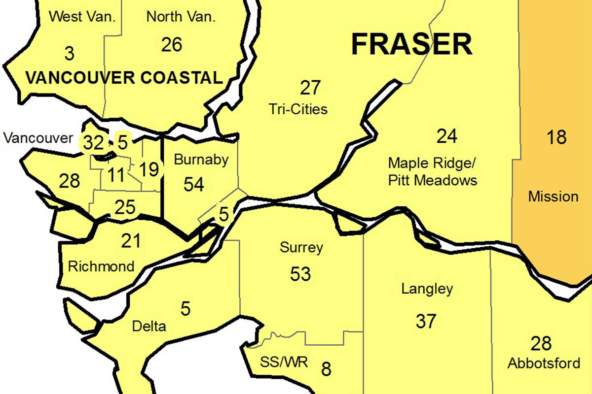 COVID-19 numbers more than doubled in Langley compared to a week ago. (BCCDC)