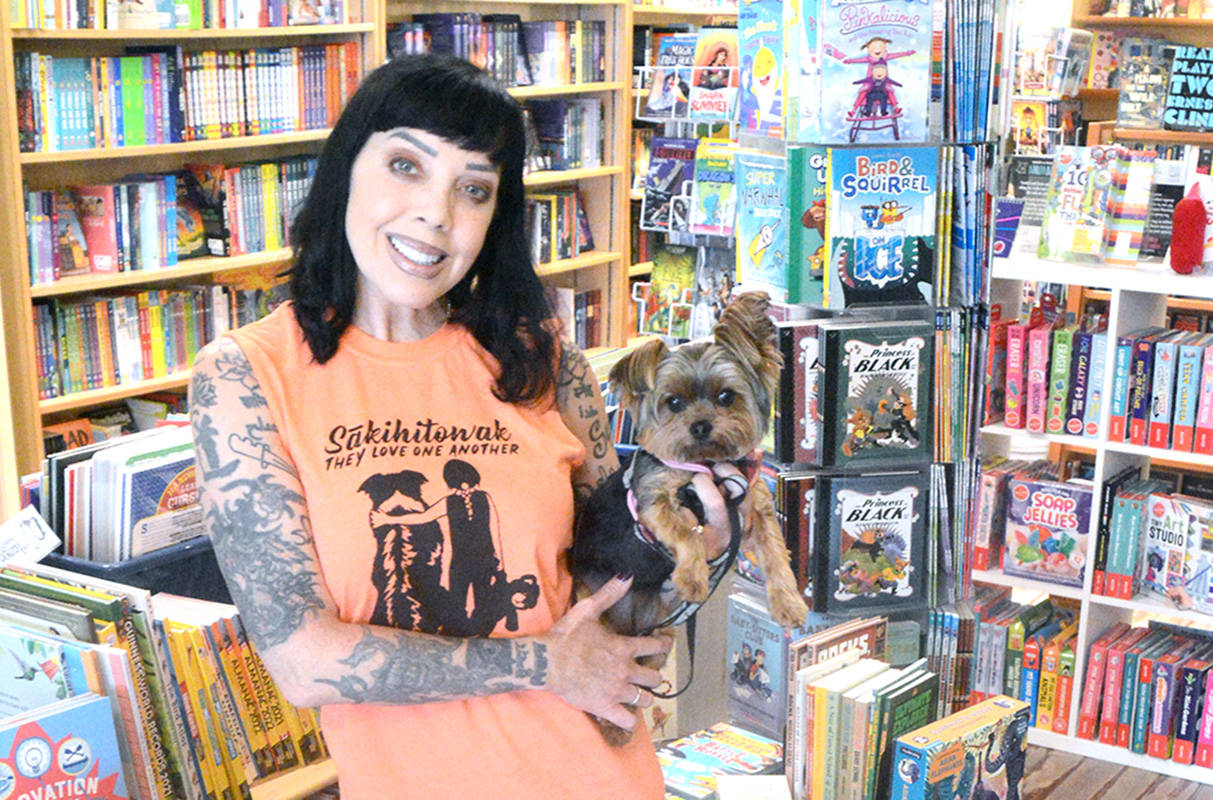 Bif Naked, with Ace, at Huckleberry Books in Cranbrook (Barry Coulter photo)