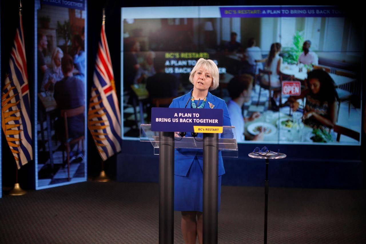 Provincial Health Officer Dr. Bonnie Henry talks about B.C.'s plan to restart the province during a press conference at Legislature in Victoria, B.C., on May 25, 2021. THE CANADIAN PRESS/Chad Hipolito