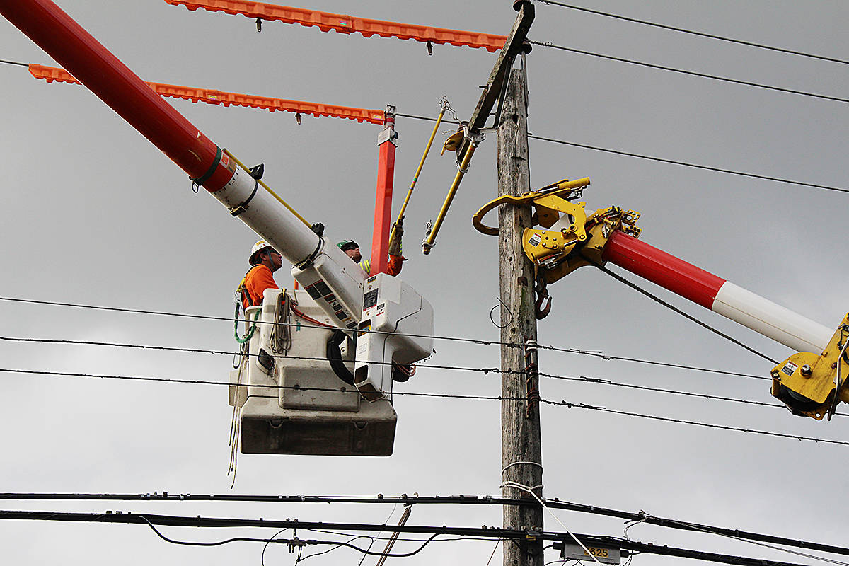 BC Hydro replaced more than 9,000 wooden distribution poles across the province as part of its ongoing maintenance program. (Black Press Media files)