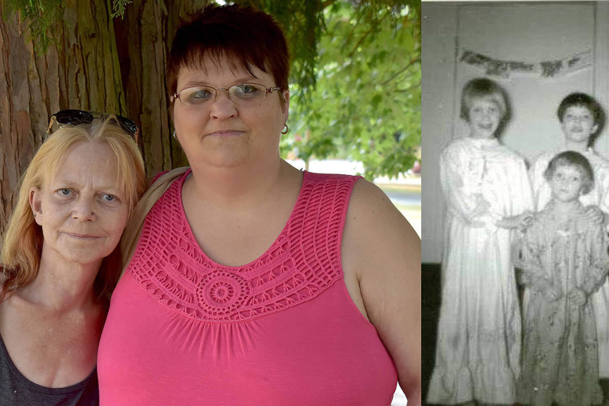 Abbotsford neighbours and acquaintances Beth (left) and Shayna Davison have recently reconnected after decades of not knowing they existed. The right side of the picture is Beth and her two siblings in earlier days. (Ben Lypka/Abbotsford News)