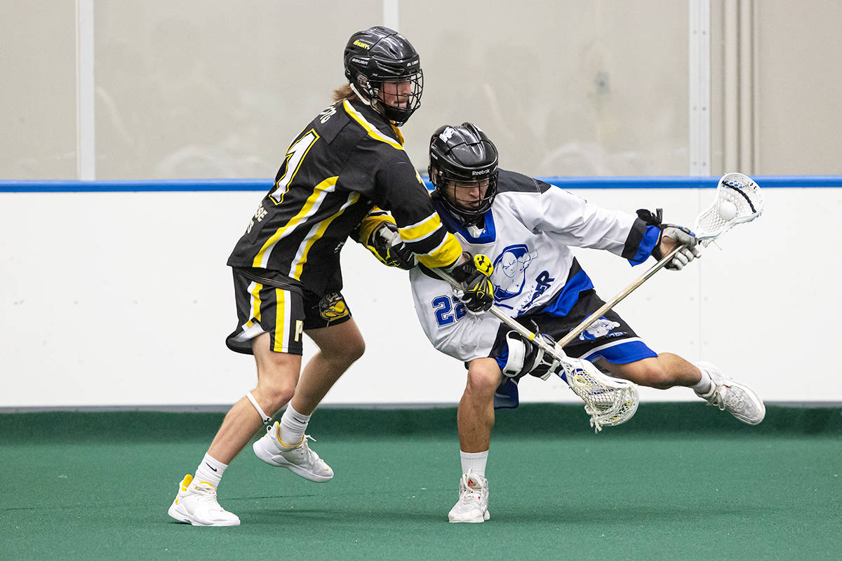 Langley's Trevayne Hunter had a goal and an assist but the Thunder lost game two of their BC Junior A Lacrosse League Mainland Division playoff series 10-4 to the Port Coquitlam Saints on August 5. (Damon James/Langley Events Centre file photo)