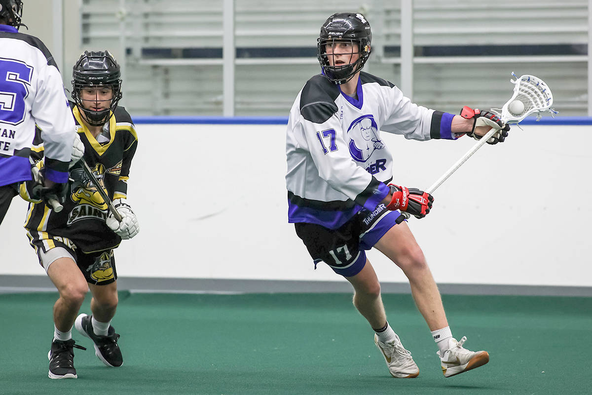 Tristan Kirkham had three goals and an assist as the Langley Thunder defeated the Maple Ridge Burrards 11-7 in game two of the BC Junior Tier 1 Lacrosse League Mainland Division playoffs. (Damon James/Langley Events Centre file photo)