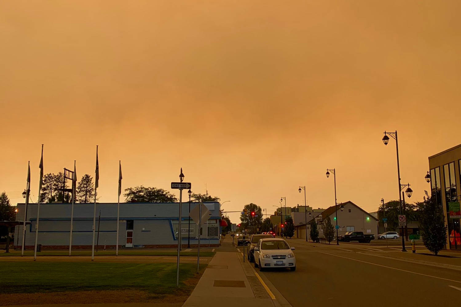 """A Vernon street with what the photographer described as an """"apocalyptic"""" view on Aug. 6, 2021. (u/spankymustard - Reddit)"""