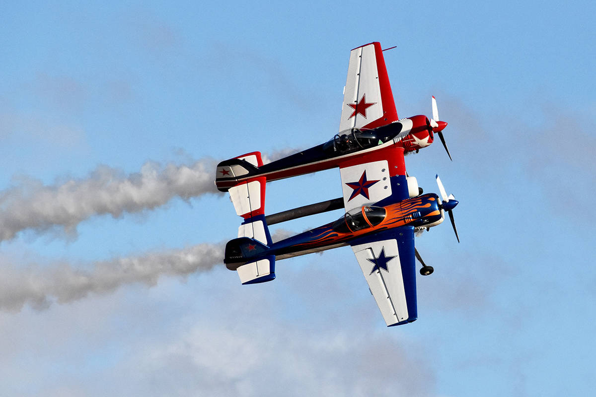 The Yak110 takes to the skies during the Abbotsford International Airshow's Skydrive event on Saturday. (Ben Lypka/Abbotsford News)