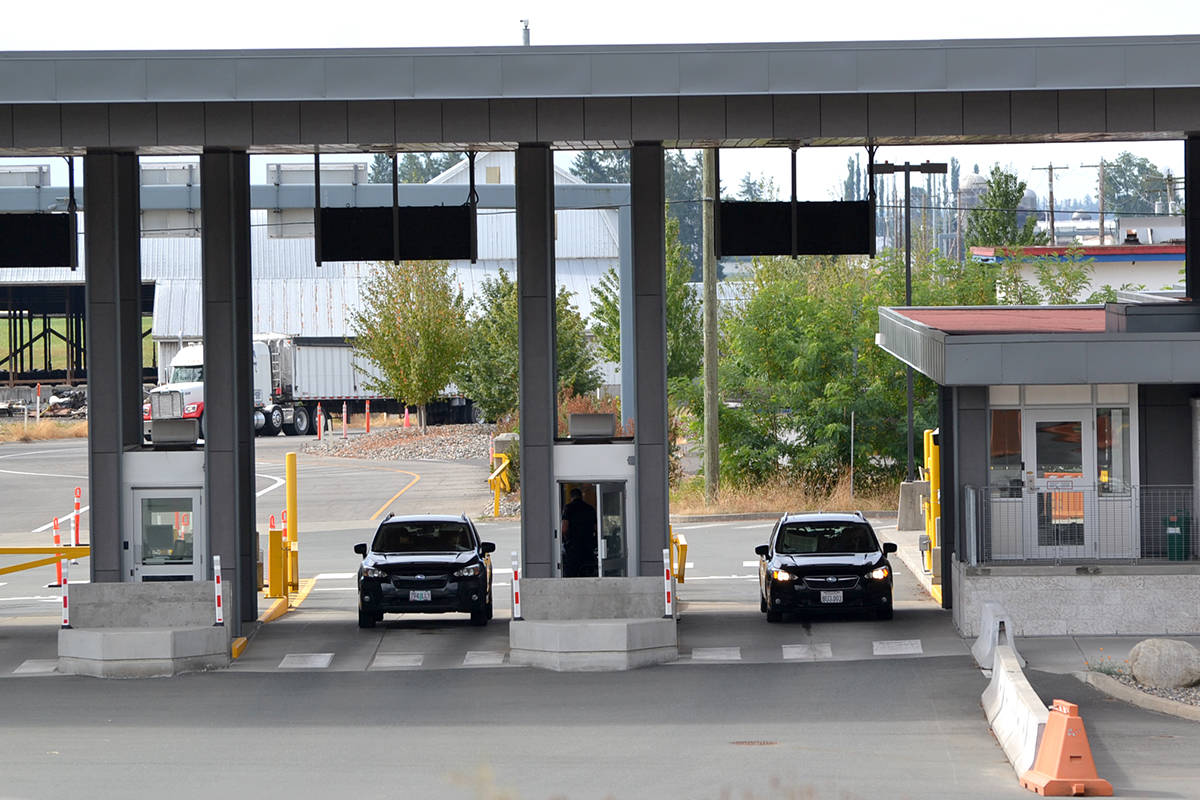 Though many border crossings reported hour-long wait times as U.S. citizens make their way into Canada on Monday, Aug. 9, the Aldergrove crossing saw relatively low traffic. (Ryan Uytdewilligen/Aldergrove Star)