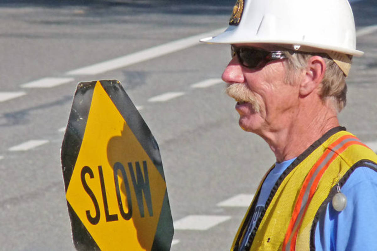 Doug Wells directed traffic. (Black Press Media files)
