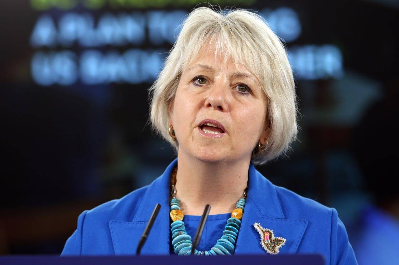 FILE – Provincial health officer Dr. Bonnie Henry talks about B.C.'s plan to restart the province during a news conference at the legislature in Victoria, Tuesday, May 25, 2021. THE CANADIAN PRESS/Chad Hipolito