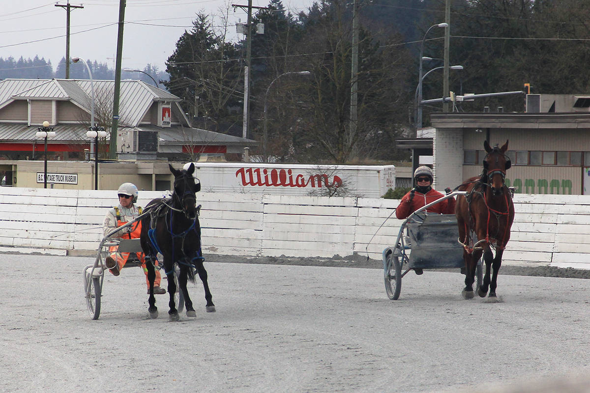 Jim Burke (left) and Brent Hill practice at Fraser Downs March 4, 2021. A press release issued Aug. 6 noted the B.C. Government has agreed to provide both Harness Racing BC (HRBC) and the Horsemen's Benevolent and Protective Association of BC (HBPA) with a $3 million grant for 2021. (Photo: Malin Jordan)