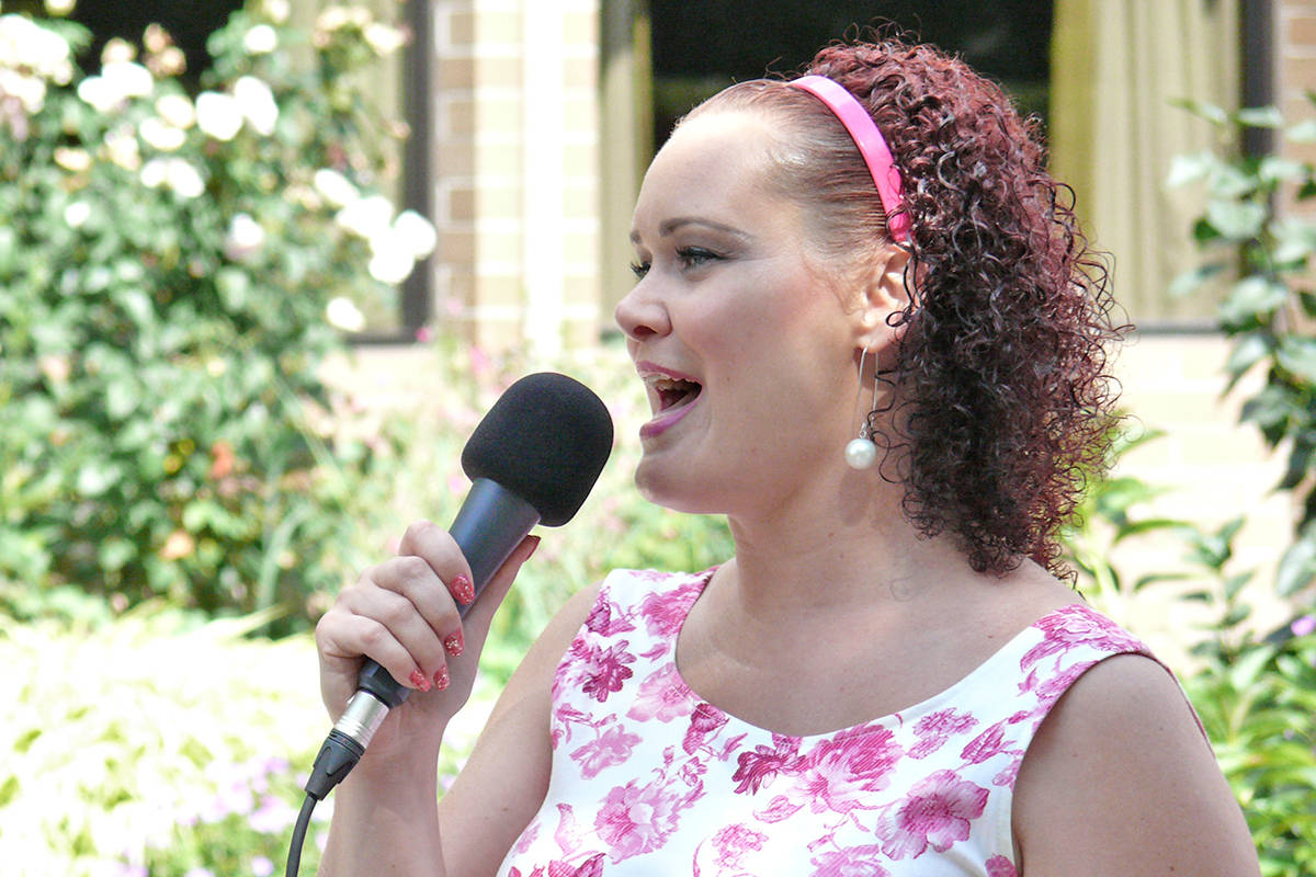 Mandy Rushton of Mad Jazz performed for residents of the Langley Lodge on Monday, Aug. 8. (Dan Ferguson/Langley Advance Times)