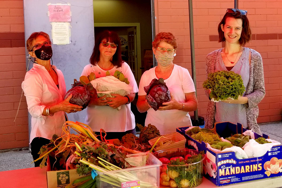 """Tannis, Patsy, Mary and Kristen showing off their """"massive"""" cabbages and many veggies for the Aldergrove Food Bank. (Special to The Star)"""
