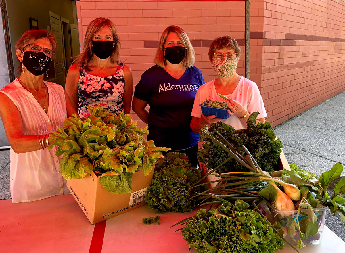 Tannis, Aldergrove Food Bank Assistant Manager, Michelle-Branch manager of Aldergrove Financial, Crystal, an Aldergrove Financial advisor, and Mary, the Aldergrove Food Bank manager show off their donated greens. (Special to The Star)