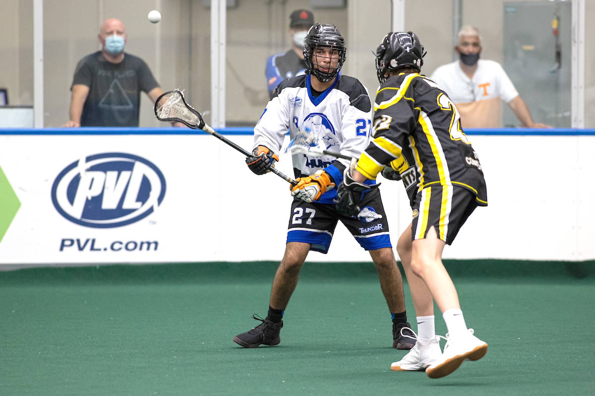 Langley Thunder's Kanen Hunter (seen in action against the Port Coquitlam Saints on July 27), had three goals and five points but his team lost 11-6 to the Coquitlam Adanacs in game one of the BC Junior Tier 1 Lacrosse League Mainland Division playoffs on August 8. (Damon James/Langley Events Centre)
