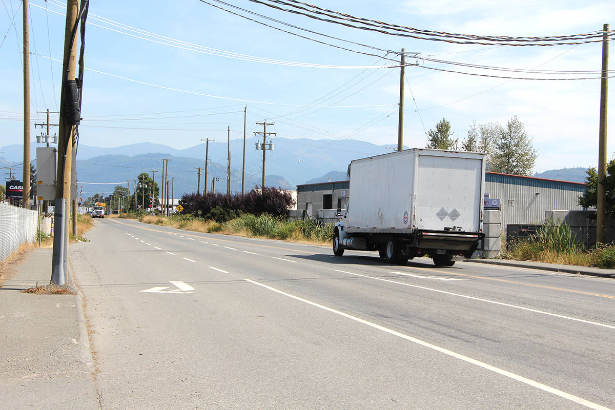 Road construction on Vye Road between Riverside Road and Sumas Way (Highway 11) in Abbotsford has been delayed due to a recent archeological discovery. (Vikki Hopes/Abbotsford News)