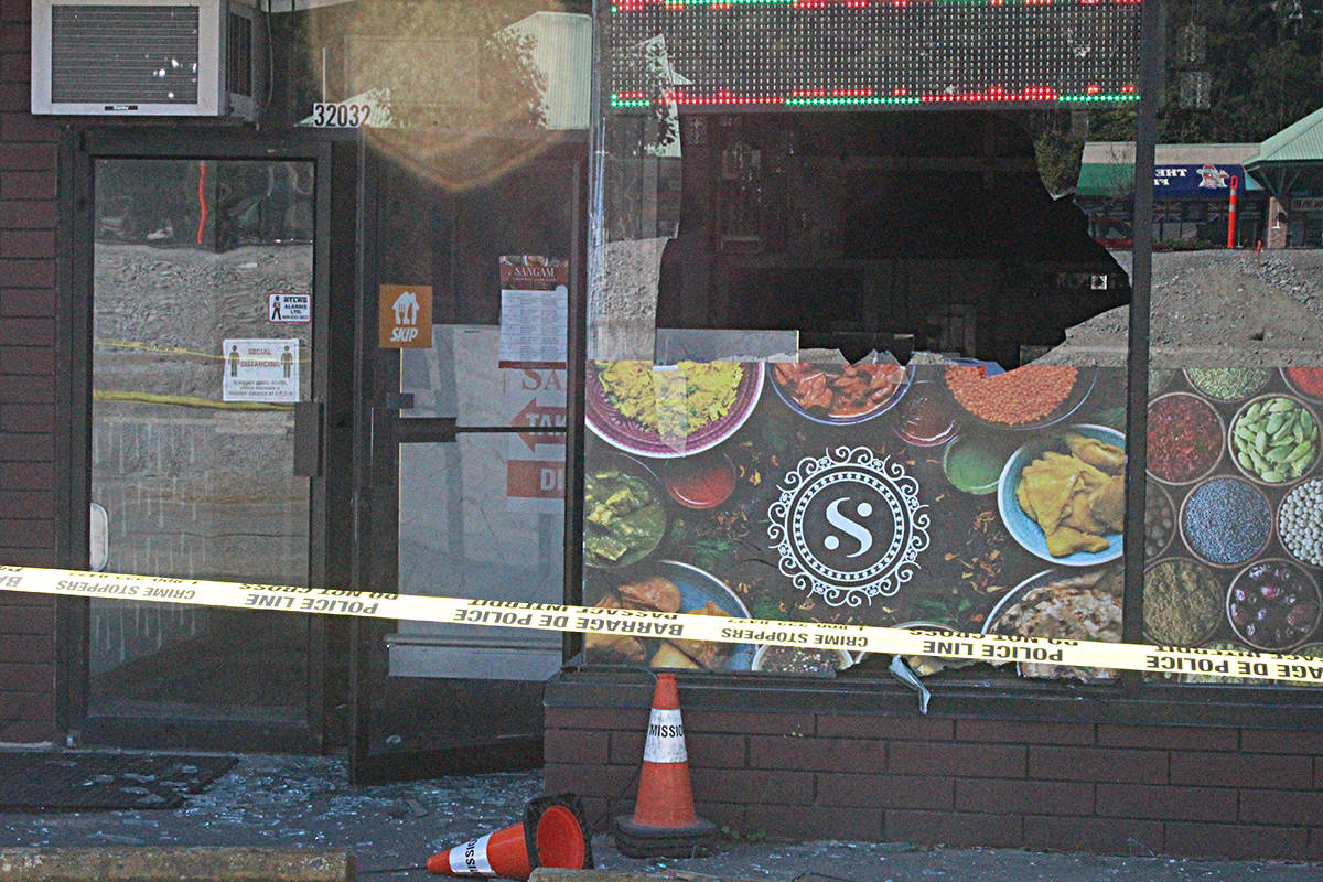 The explosion is being investigated by the Mission RCMP's Serious Crime Unit, forensic teams and the Lower Mainland RCMP's Explosive Disposal Unit. Police say its too early to say if the restaurant was targeted. Patrick Penner photo.