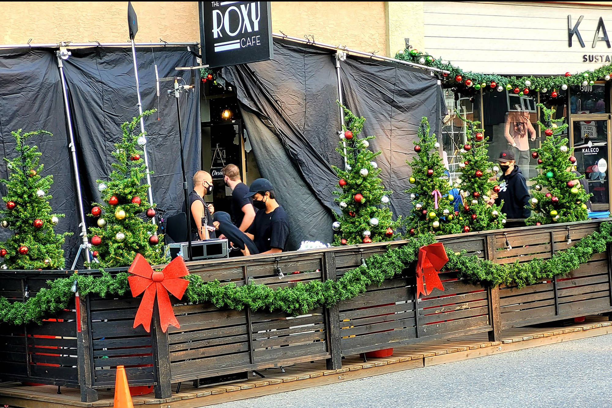 Decorations were hung with care around downtown Vernon for a new film being shot in town Aug. 9, 2021. (Greater Vernon Chamber of Commerce photo)