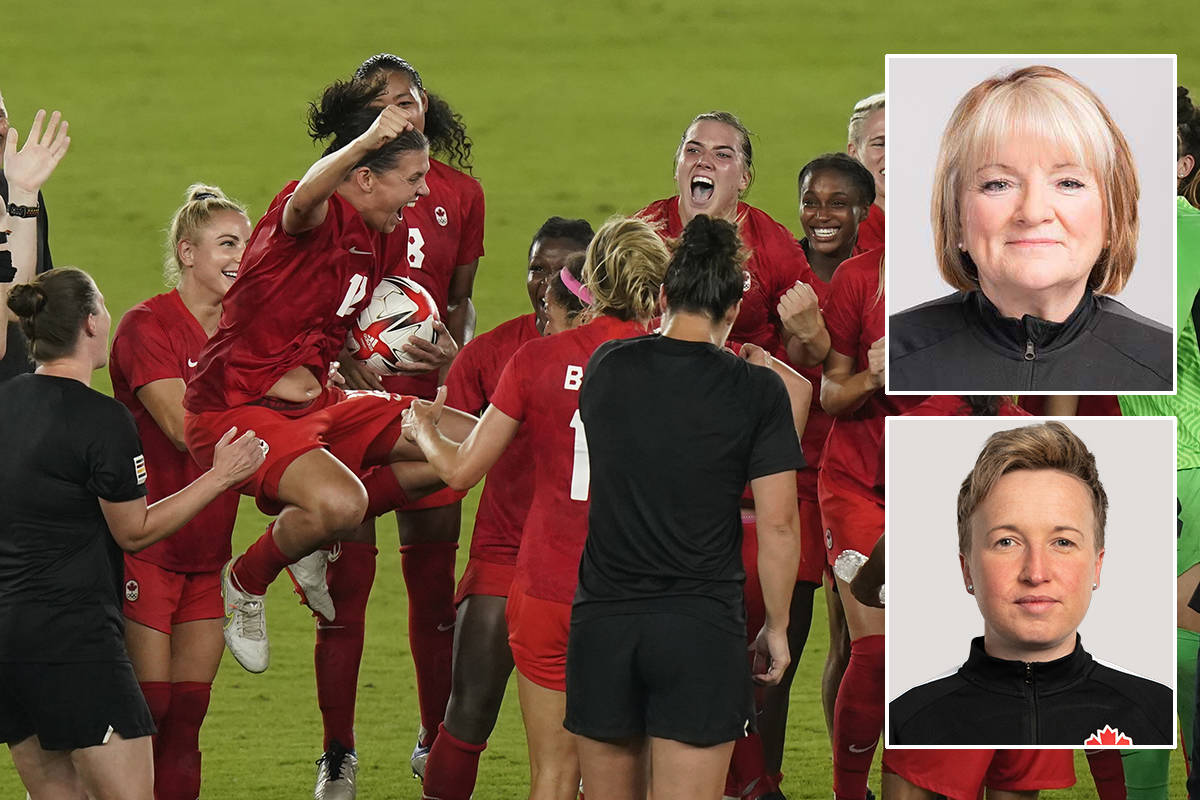 Equipment manager Maeve Glass (top right) and head coach Bev Priestman (bottom right) – both Semiahmoo Peninsula residents – won Olympic gold with Canada's national women's soccer team in Tokyo last week. (THE CANADIAN PRESS/Adrian Wyld photo)