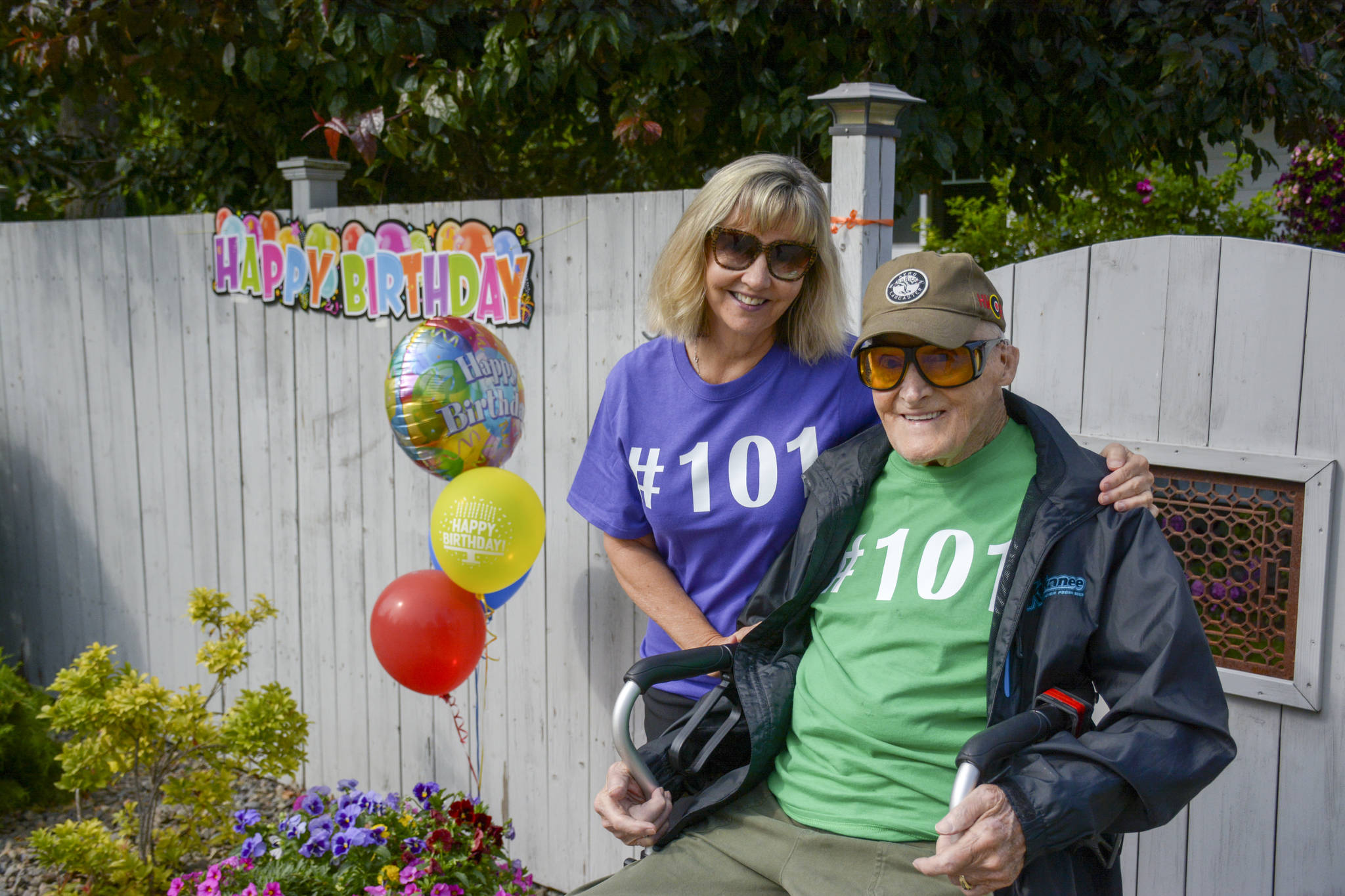 Nancy DeVuono poses with her father Chuck Page, a veteran and new resident of Creston, at the celebration of his 101st birthday on August 9. (Photo by Kelsey Yates)