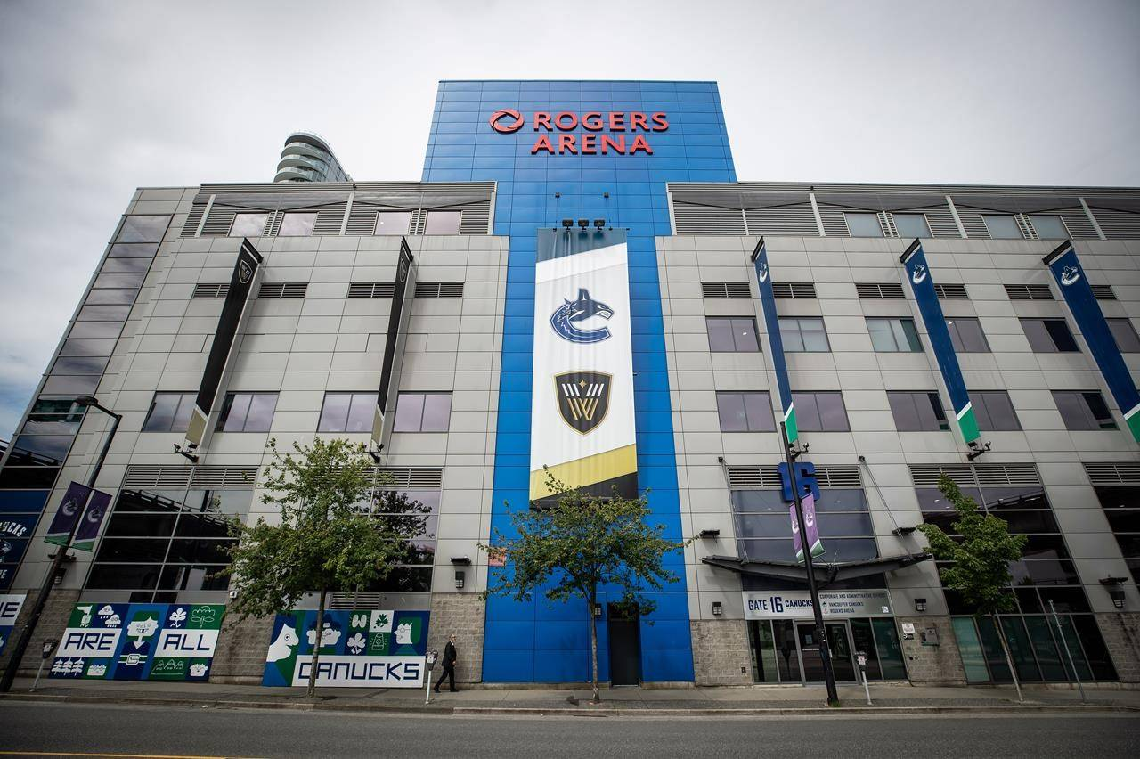 Rogers Arena, home to the Vancouver Canucks NHL hockey team, is seen in Vancouver, on Monday, June 22, 2020. (THE CANADIAN PRESS/Darryl Dyck)