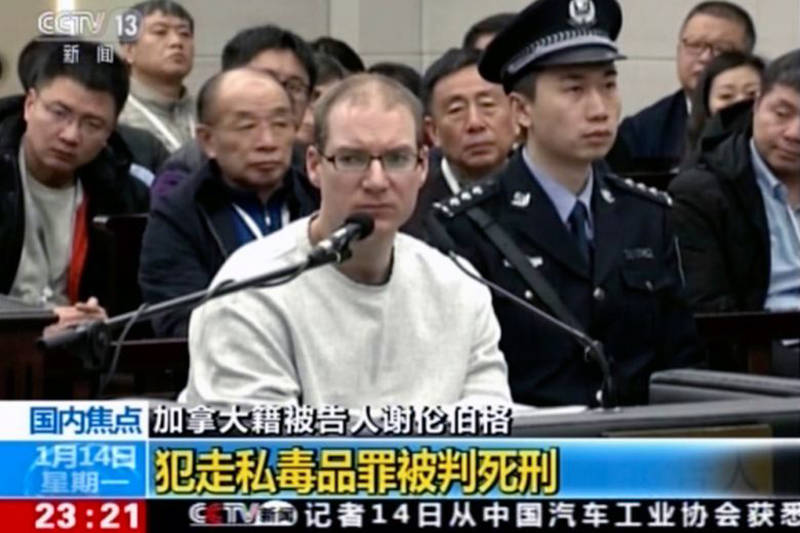 Robert Schellenberg, formerly of Abbotsford, is shown here on Chinese media during his drug-smuggling re-trial in China in January 2019.