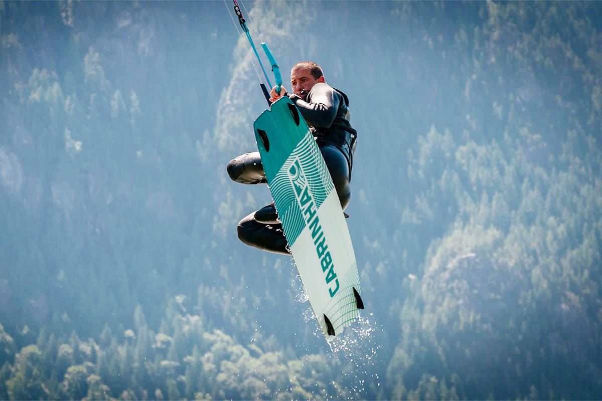 White Rock CAO Guillermo Ferrero catches air while kiteboarding in Squamish. (Contributed photo)