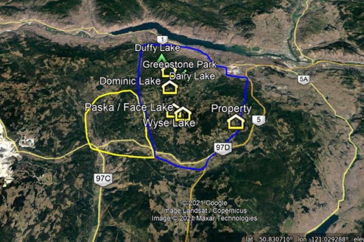 Map showing the area including Logan Lake that is now under evacuation order (yellow circle) and the area to the north and east (blue circle) now under evacuation alert due to the Tremont Creek wildfire. (Photo credit: EMBC)