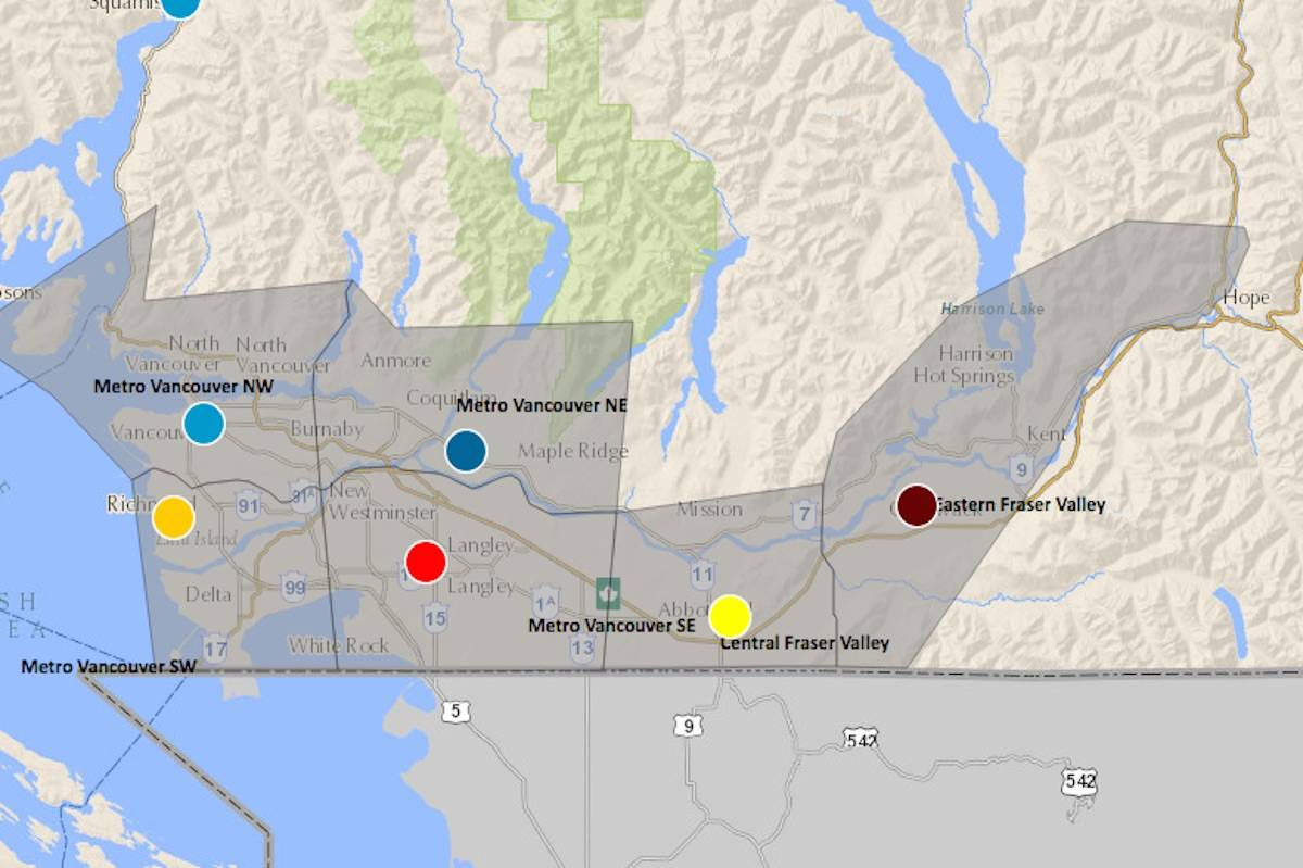 Provincial map of air quality health index shows eastern Fraser Valley taking the brunt of wildfire smoke across the region on Aug. 13, 2021. (Government of BC map)