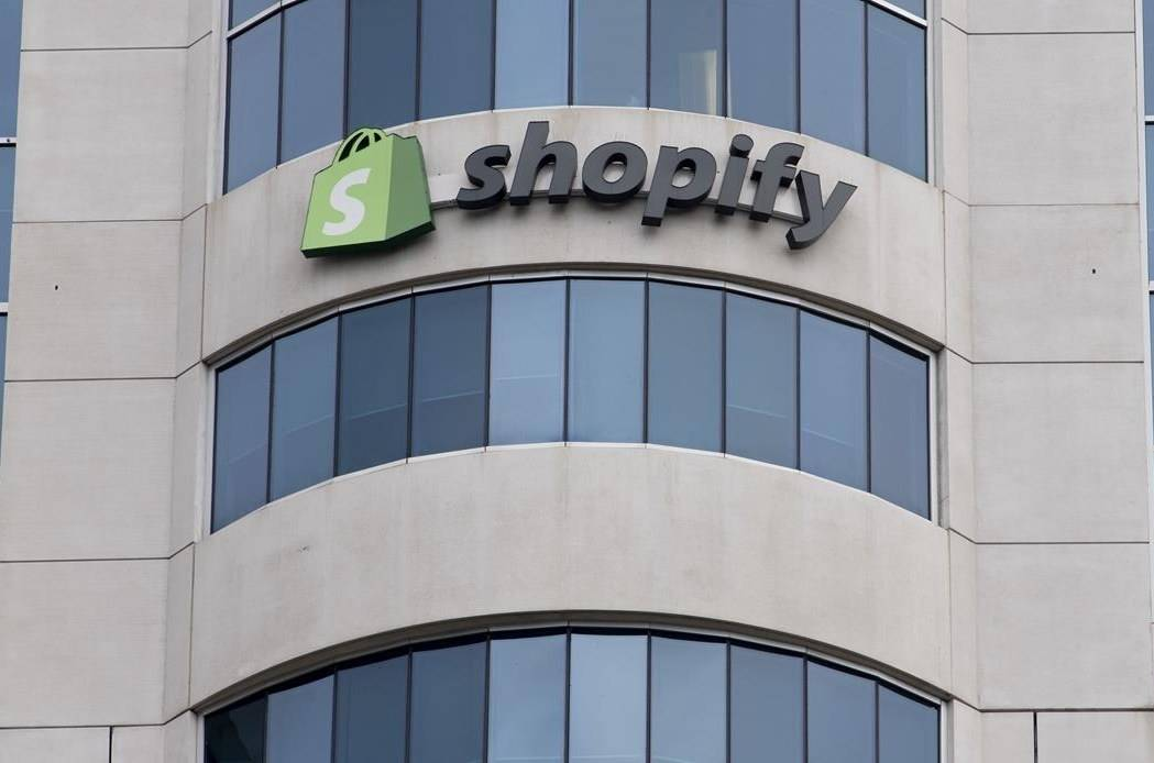A sign is seen outside the Shopify headquarters in Ottawa, Tuesday September 1, 2020. Shopify Inc.'s chief executive says any staff meeting up will need to show proof that they are fully vaccinated. THE CANADIAN PRESS/Adrian Wyld