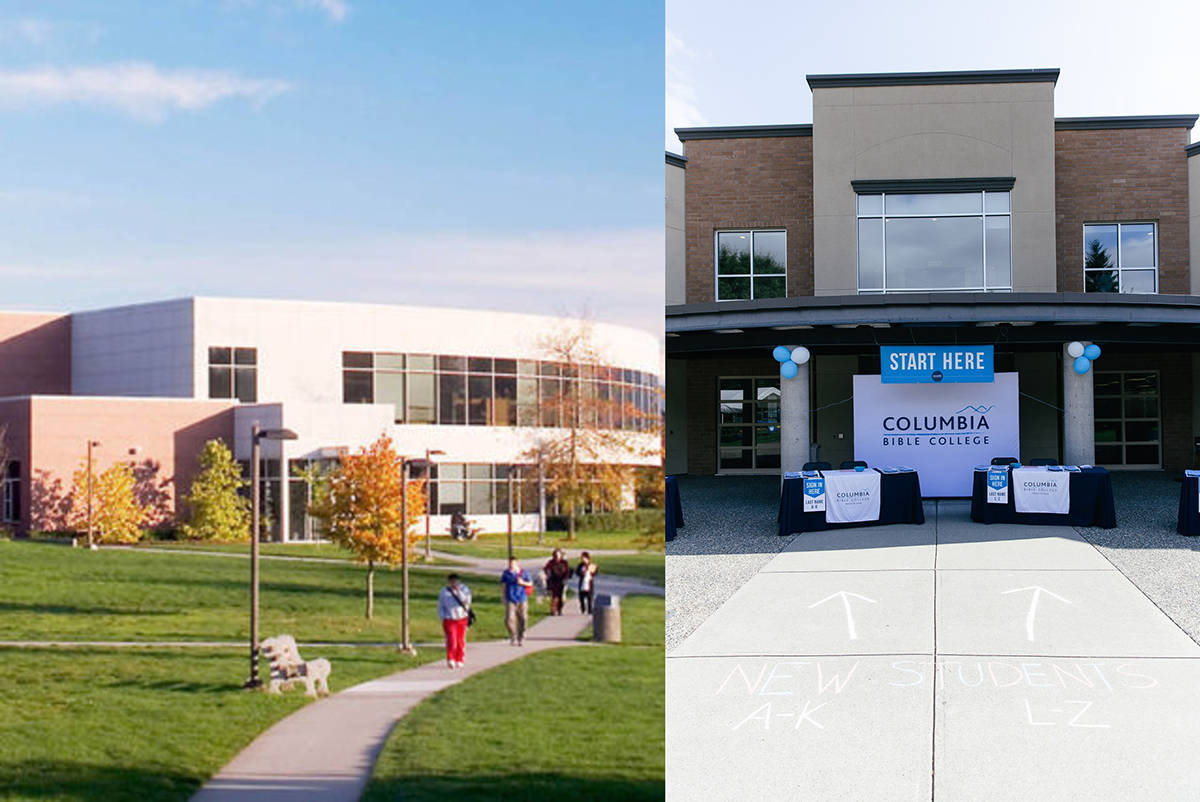 Abbotsford's University of the Fraser Valley (left) and Columbia Bible College will not require students to be vaccinated when school returns.