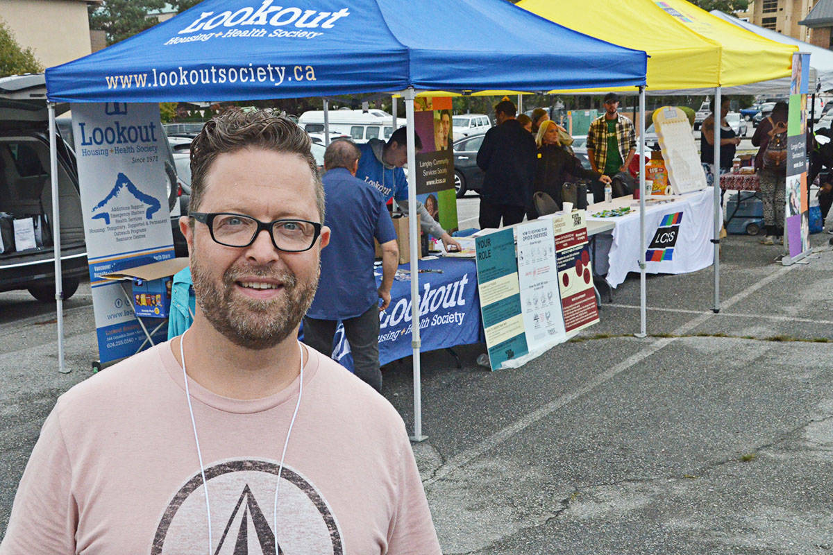 Daniel Snyder at the Overdose Awareness Barbecue in Langley City in 2019. (Langley Advance Times files)