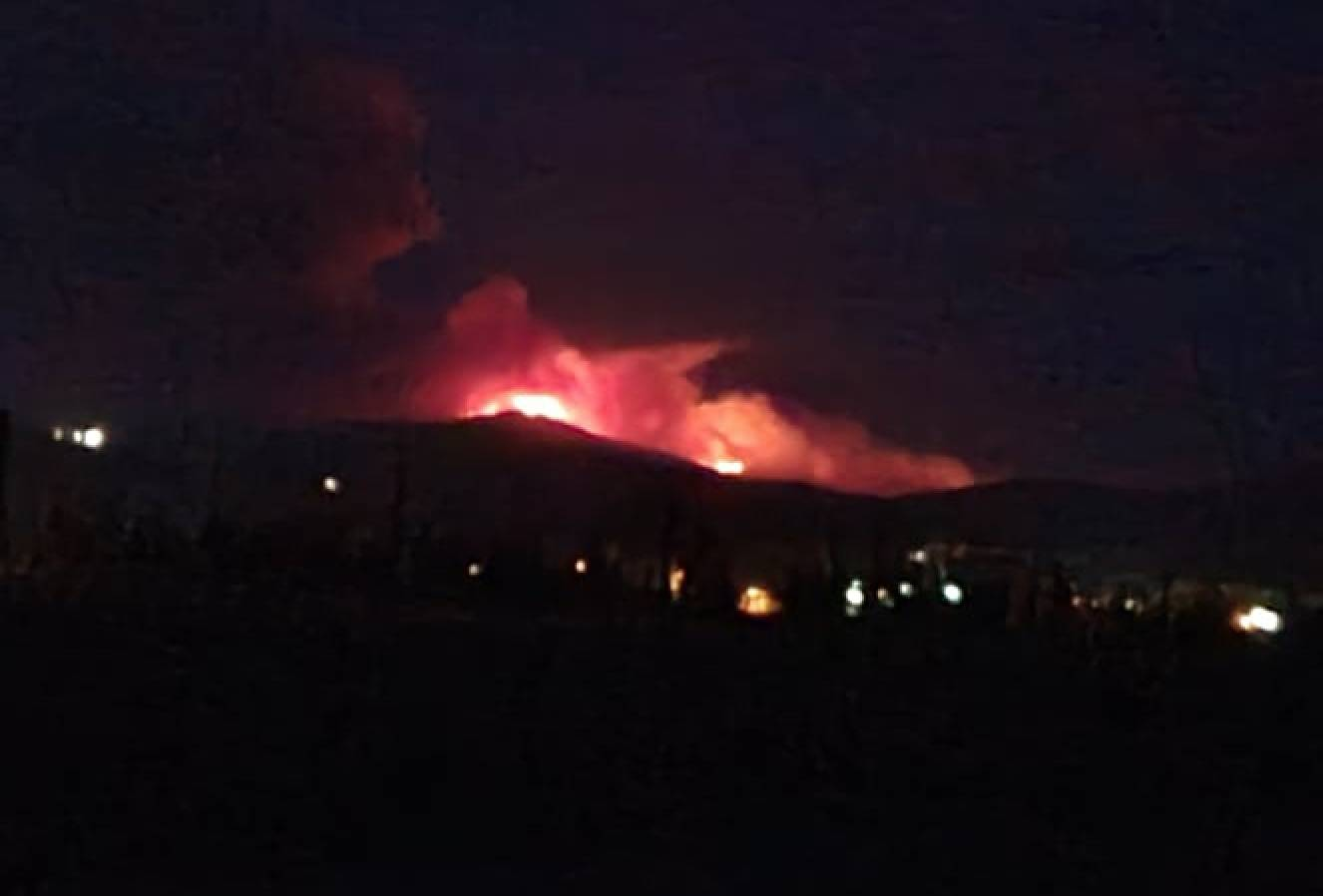 The Garrison Lake fire, 33 km from Princeton, as seen from the Princeton airport Thursday, Aug. 5, at 10 p.m. Photo submitted.