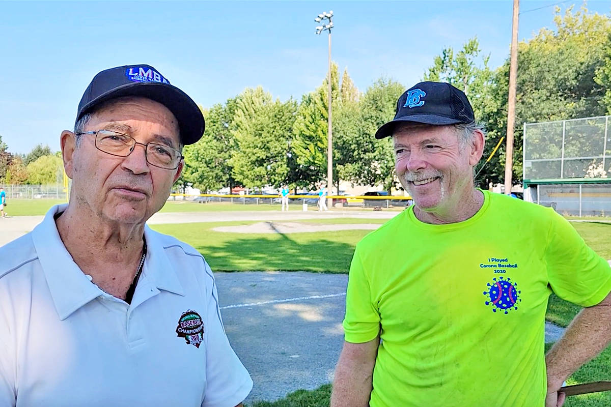 Dan Tayor and Howard Sandrel say a new league for baseball players 60 and older was simply because players got older. It was launched at Langley's City Park on Sunday, Aug. 15. It is believed to be the first of its kind in the Lower Mainland. (Dan Ferguson/Langley Advance Times)