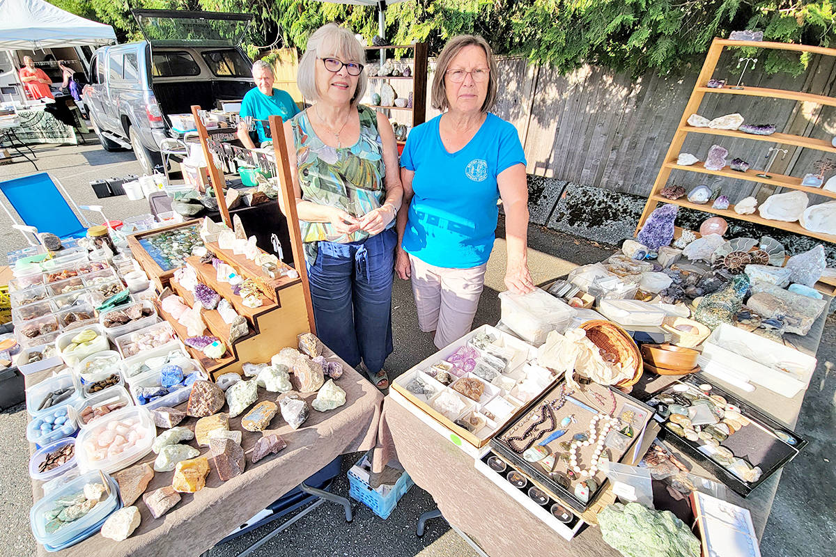 Robert (left) and Rozalia Brown (right) , with friend Barbra Felton (centre) attended the Aldergrove-based Fraser Valley Rock & Gem Club tailgate sale on Sunday, Aug. 15 in the parking lot of the Aldergrove Legion. (Dan Ferguson/Langley Advance Times)