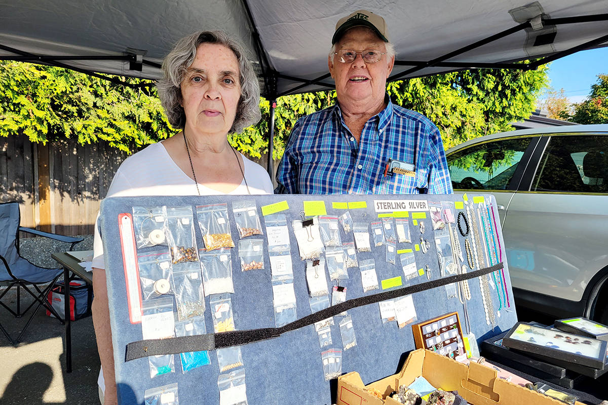Sue and Ron Vauthrin, self-described 'rock hounds' from Aldergrove, set up a table at the Fraser Valley Rock & Gem Club tailgate sale on Sunday in the Aldergrove legion parking lot. (Dan Ferguson/Langley Advance Times)