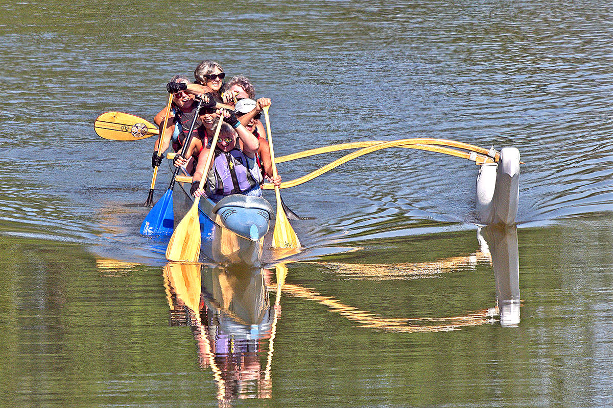 Members of the Fort Langley Canoe Club were observed paddling through Kanaka Creek Regional Park in Maple Rige on Sunday, just past the walkway bridge where Fraser River flows into Kanaka Creek Bends. Scott White of Maple Ridge shared this picture of the six women paddling. (Special to Langley Advance Times)