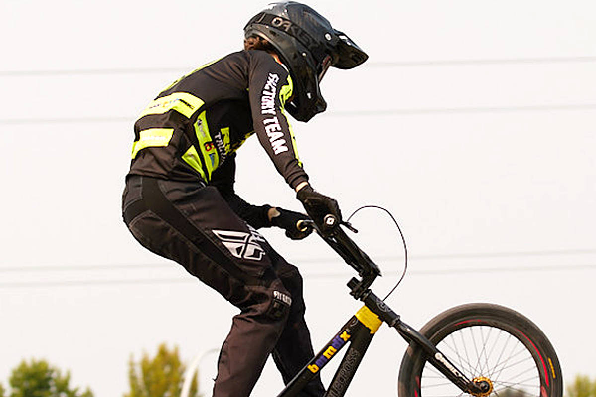 Langley's Munroe Hutton took third at the provincial BMX championships in Surrey on Saturday, Aug. 14, 2021. (Rob Wilton/RJMedia.tech)