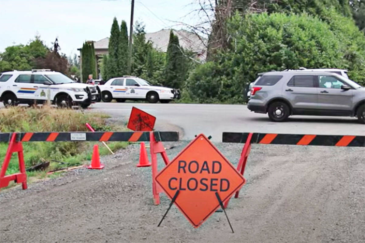 The discovery of a body drew a large police presence in Pitt Meadows on Aug. 15, 2021. (Shane MacKichan/Special to The News)