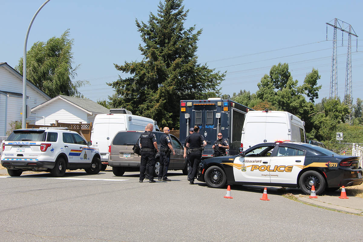 A large police presence was on hand July 5 on Clinton Avenue, east of Clearbrook Road, after a body was found in a parking lot of Clearbrook Park. (Vikki Hopes/Abbotsford News)