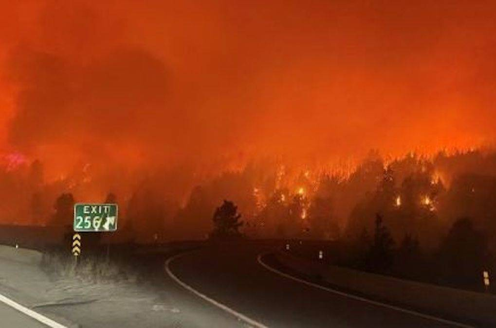 Coquihalla Highway as seen on Sunday, Aug. 15, 2021. The Highway 5 route was closed Sunday due to the July Lake wildfire burning on both sides of the main artery. (Drive BC photo)
