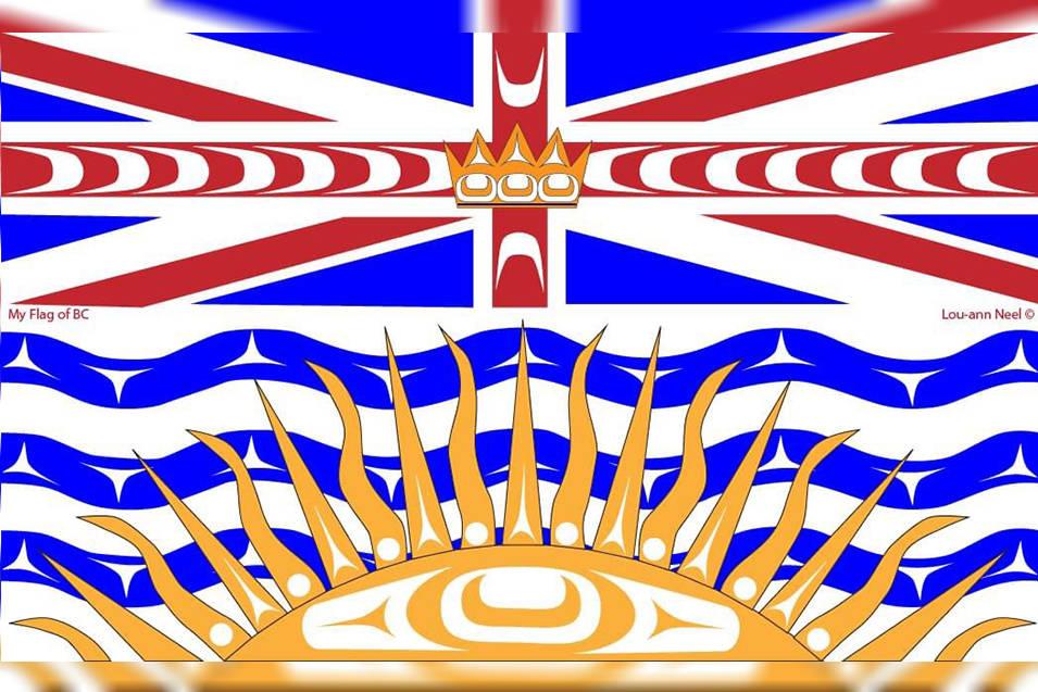 Lou-Ann Neels reimagined B.C. Provincial flag includes Kwaigulth artistic elements that breathe new life into B.C.'s flag. (Lou-Ann Neel photo)