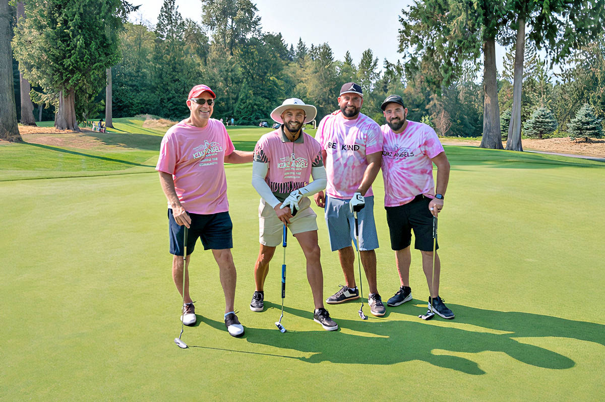 At the 25th annual Langley Memorial Hospital Foundation Charity Golf Tournament on Aug. 12, players included the Kimz Angels team - Dr. Don McDonald; Marco Innauzi; Travis Raich; and Lu Neighor (C.K. Wright Photography/special to Langley Advance Times)