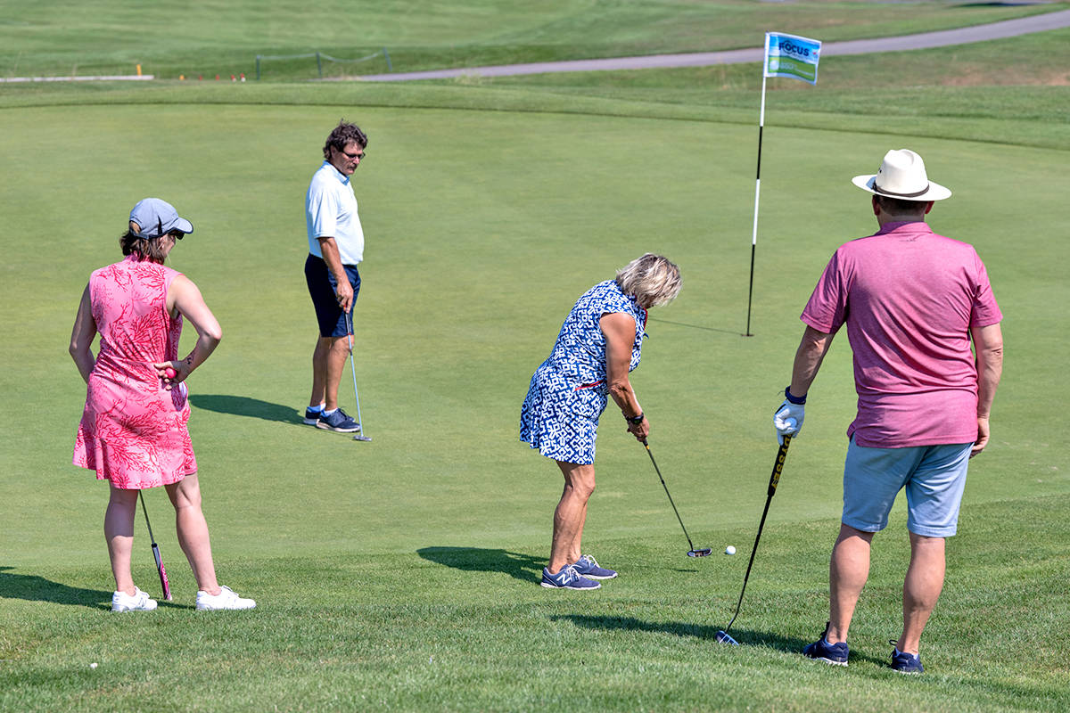 At the 25th annual Langley Memorial Hospital Foundation Charity Golf Tournament on Aug. 12, the McDonald's Sarocemas team was Sophie Lussier; Trevor Kothlow; Donna Kothlow; Robert Renaud (C.K. Wright Photography/special to Langley Advance Times)